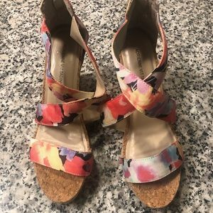 Adrienne Vittadini floral wedges LIKE NEW